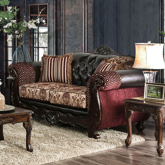 Burgundy/Dark Brown Traditional Love Seat