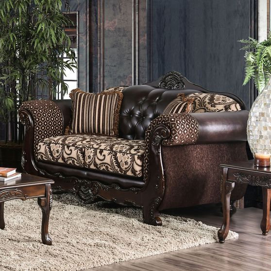 Traditional leatherette/chenille fabric loveseat