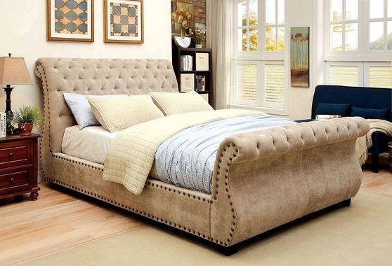 Corduoy mocha fabric platform sleigh bed