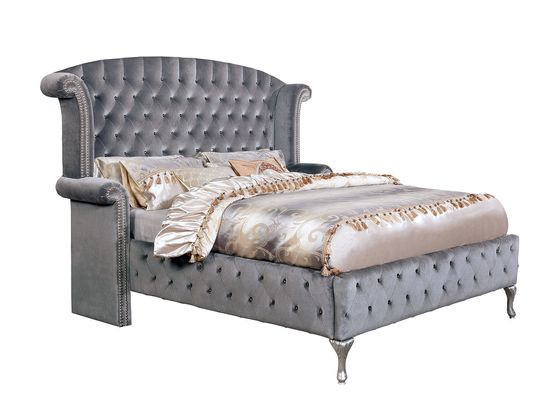 Flannelette fabric tufted modern king bed in gray