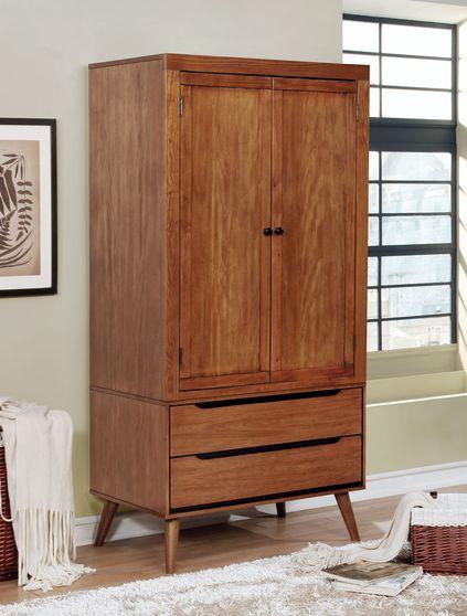 Mid-century modern style oak finish armoire