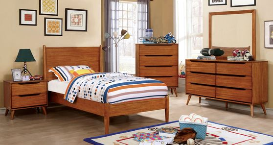 Mid-century modern style oak youth bedroom