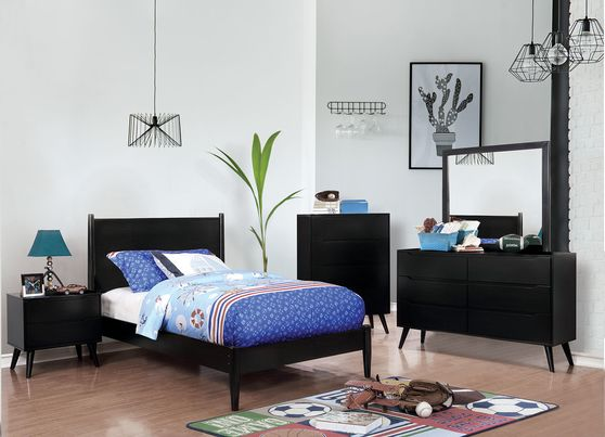 Mid-century modern style black finish twin bed