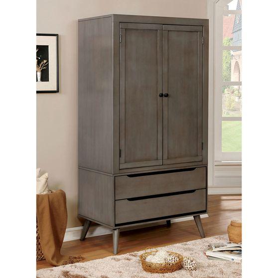 Mid-century modern style gray finish armoire