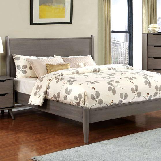 Mid-century modern style gray finish king bed