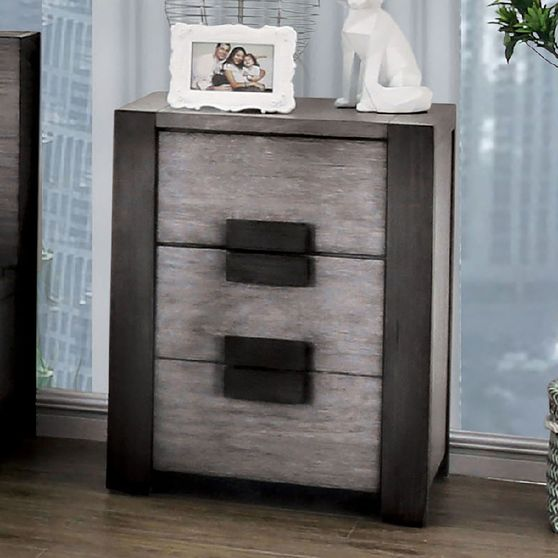 Low-profile rustic gray solid wood night stand
