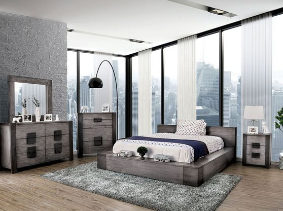 Low-profile rustic gray solid wood platform bed