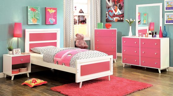 Pink & white contemporary style kids bedroom
