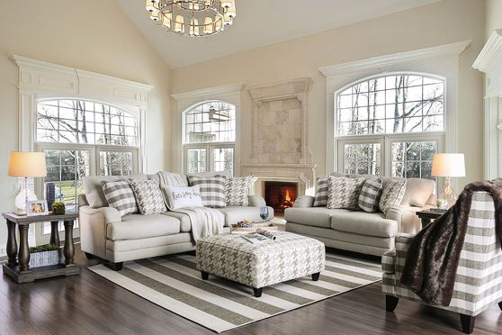 Transitional style light gray fabric US-made sofa