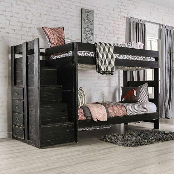 Black plank style construction twin/twin bunk bed