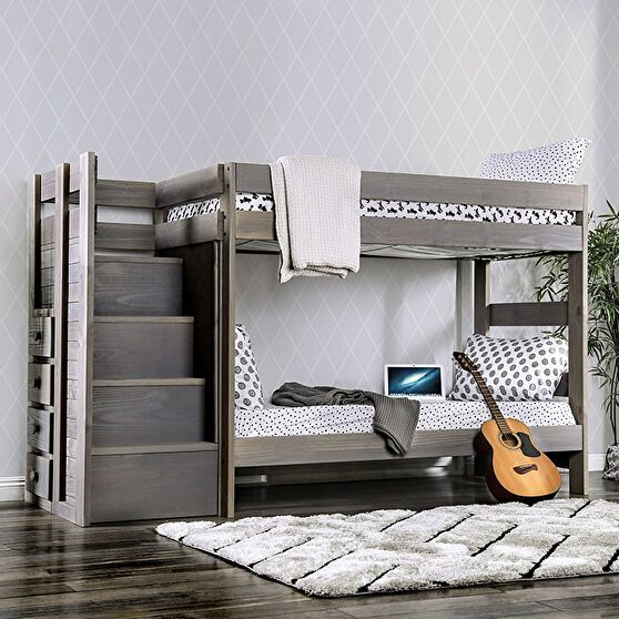 Gray plank style construction twin/twin bunk bed