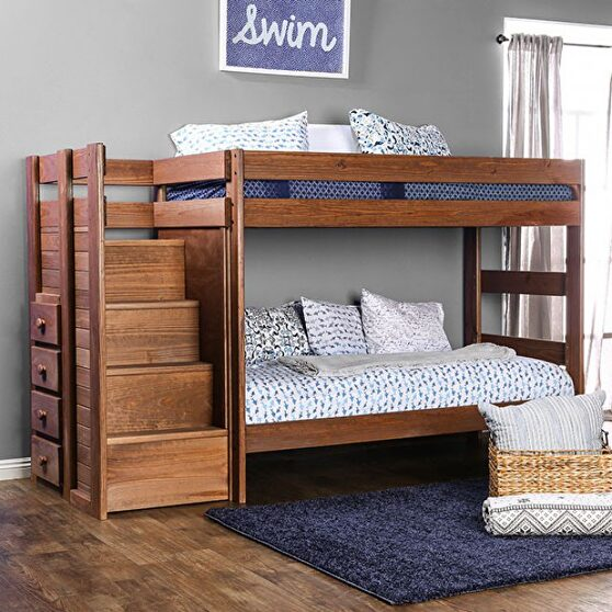 Mahogany plank style construction twin/twin bunk bed