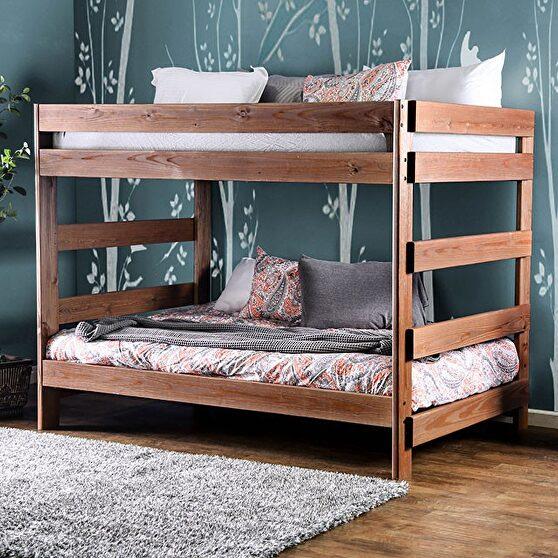 Mahogany plank style construction full/full bunk bed