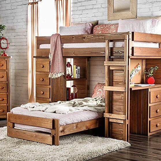 Twin/twin loft kids bed all-in-one design in mahogany finish