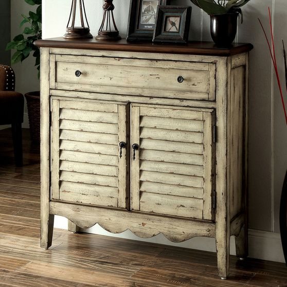 Antique white/brown rustic cabinet
