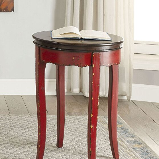 Two-tone design w/ antique brown top vintage style side table
