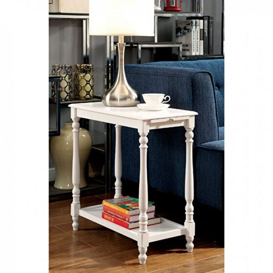 White transitional side table