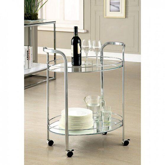 Chrome contemporary serving cart