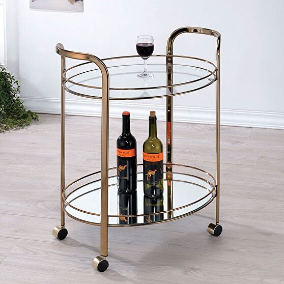 Champagne finish contemporary serving cart