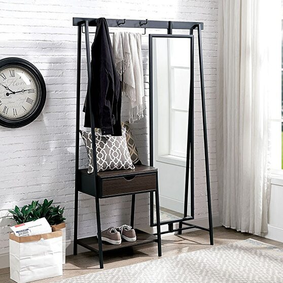 Walnut/matte black metal framework coat stand