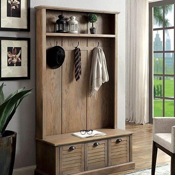 Weathered gray rustic hallway cabinet