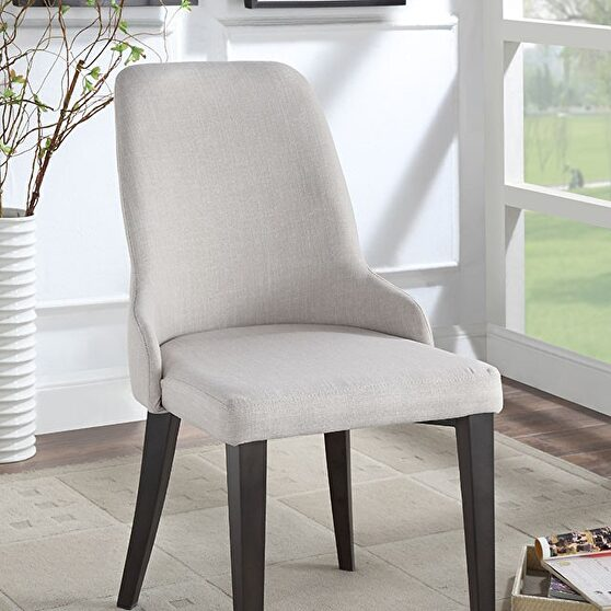 Beige padded fabric upholstery transitional chair