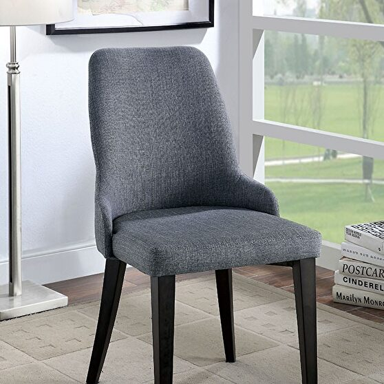 Gray padded fabric upholstery transitional chair