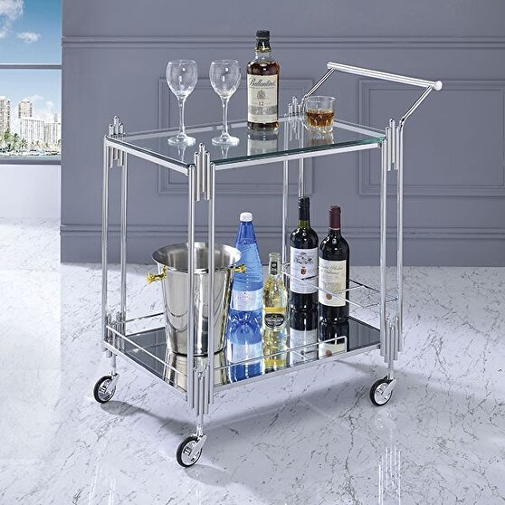Chrome transitional serving carts