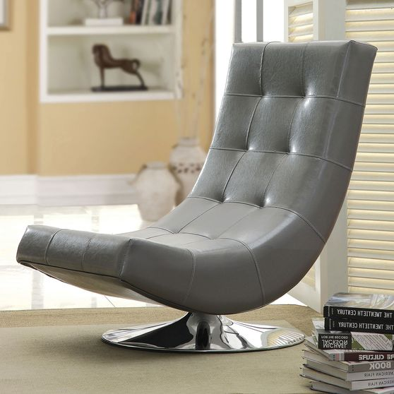 Gray contemporary swivel accent chair