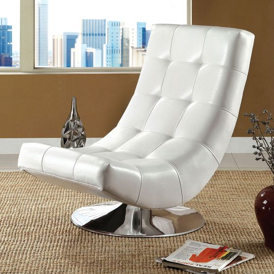 White Contemporary Swivel Accent Chair