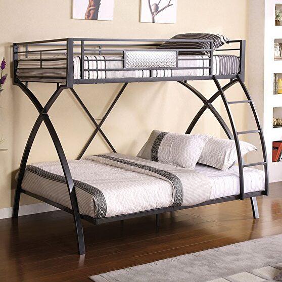 Gun metal/chrome contemporary twin/full bunk bed