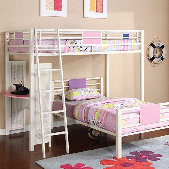 Pink & white finish metal bunk bed
