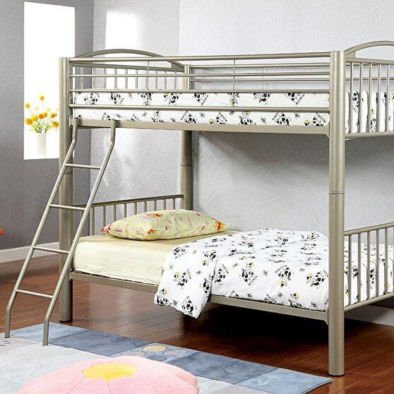 Twin/twin bunk bed in metallic gold finish