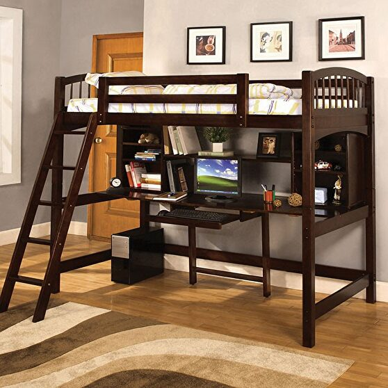 Twin bed/workstation in espresso finish