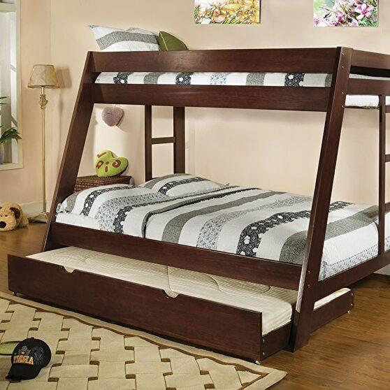 Twin /full bunk bed in dark walnut finish