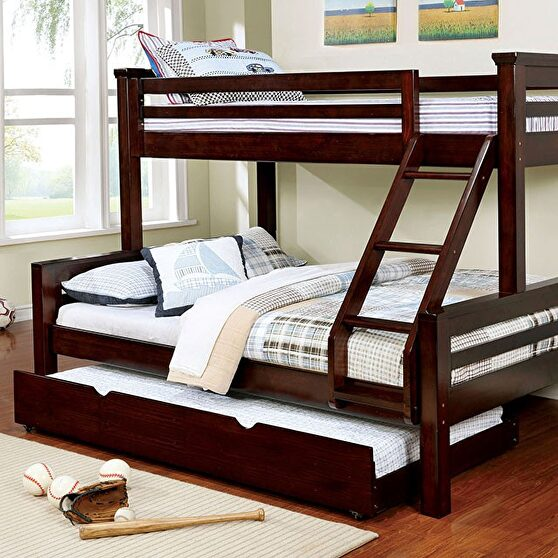 Walnut finish transitional twin/ queen bunk bed