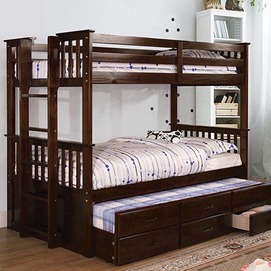 Twin /twin bunk bed in dark walnut finish