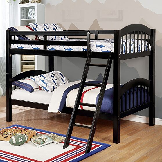Picket fence design twin/twin bunk bed in black finish