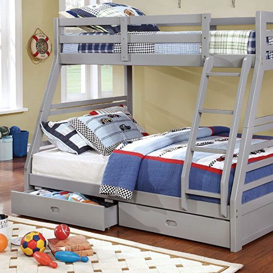 Twin/full bunk bed in gray finish w/ two drawers