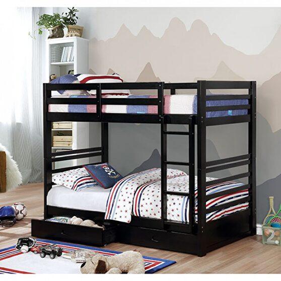 Twin/twin bunk bed w/ 2 drawers in black