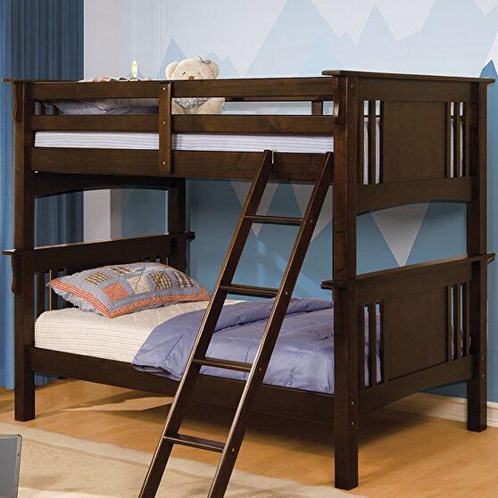 Dark walnut cottage twin/twin bunk bed