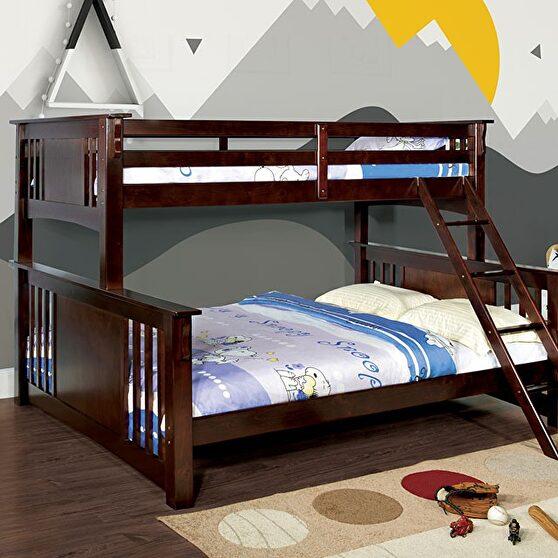 Dark walnut cottage twin xl/queen bunk bed