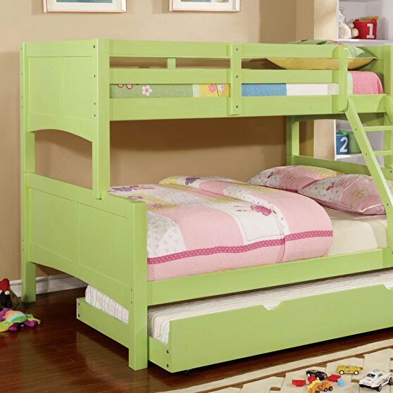 Solid wood bunk bed in green finish