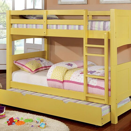 Solid wood bunk bed in yellow finish