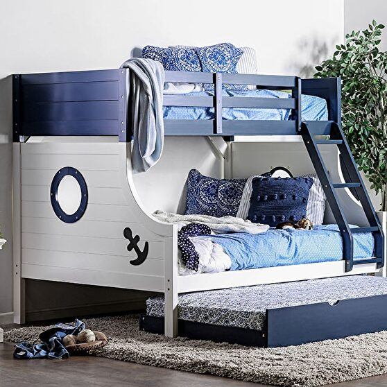 Twin/full bunk bed in blue/ white finish