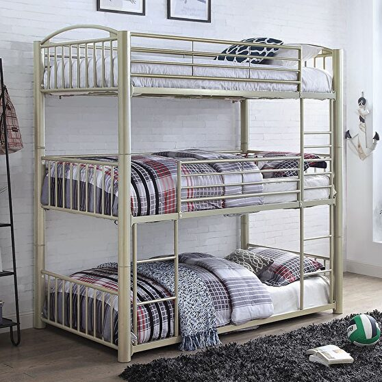 Metallic gold  steel construction twin triple decker bed
