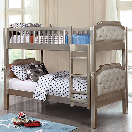 Champagne finish transitional twin/twin bunk bed