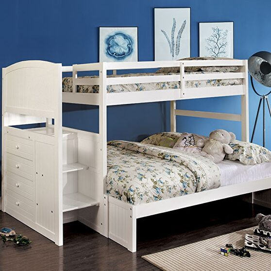 Multi-functional twin/full bunk bed in white finish