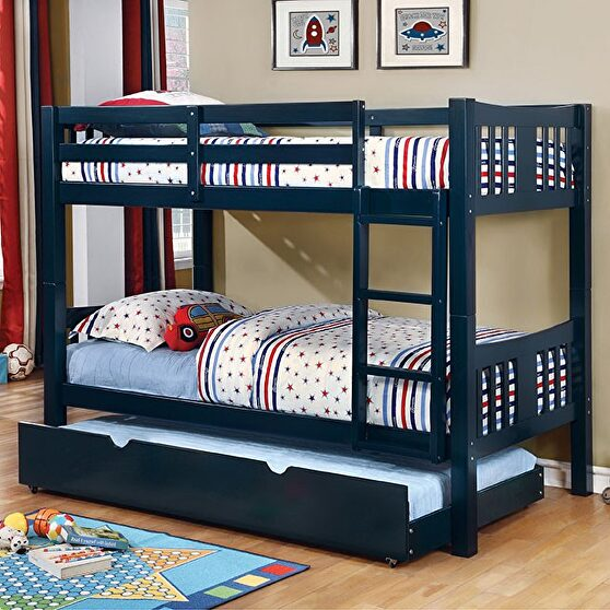 Twin/twin bunk bed in blue finish