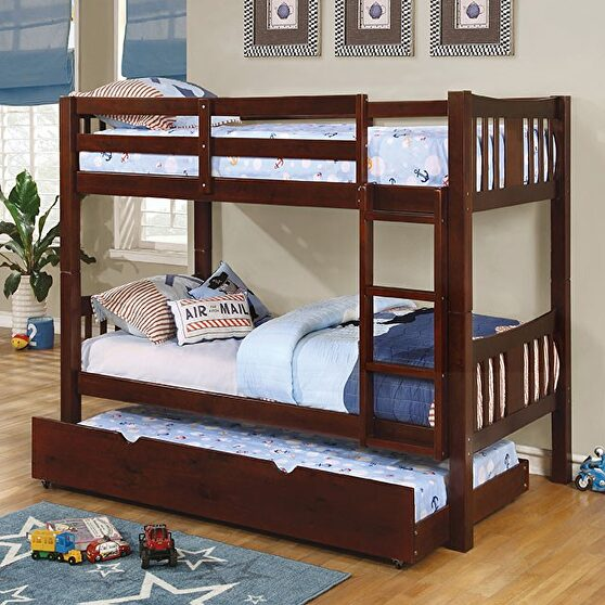 Twin/twin bunk bed in dark walnut finish